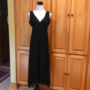 Black Silk Formal Accent Beaded Dress Size 8